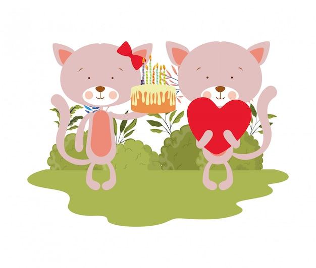 Gatos bonitos com bolo na mão