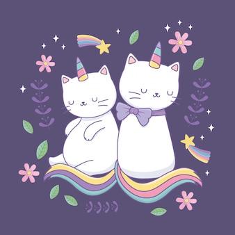 Gatos bonitos com caracteres de kawaii de cauda de arco-íris