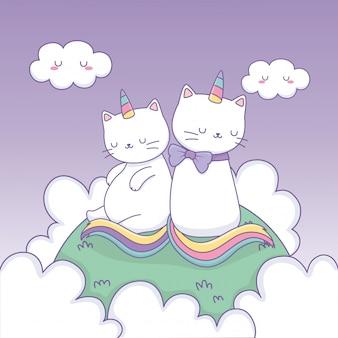 Gatos bonitos com cauda de arco-íris no acampamento kawaii caracteres
