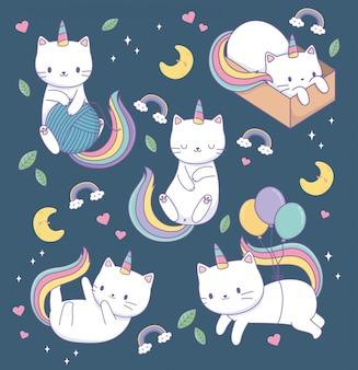 Gatos bonitos com caudas de arco-íris kawaii caracteres