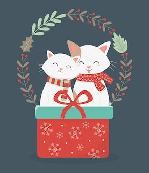 Gatos bonitos com ilustração de decoração de grinalda de presente vermelho