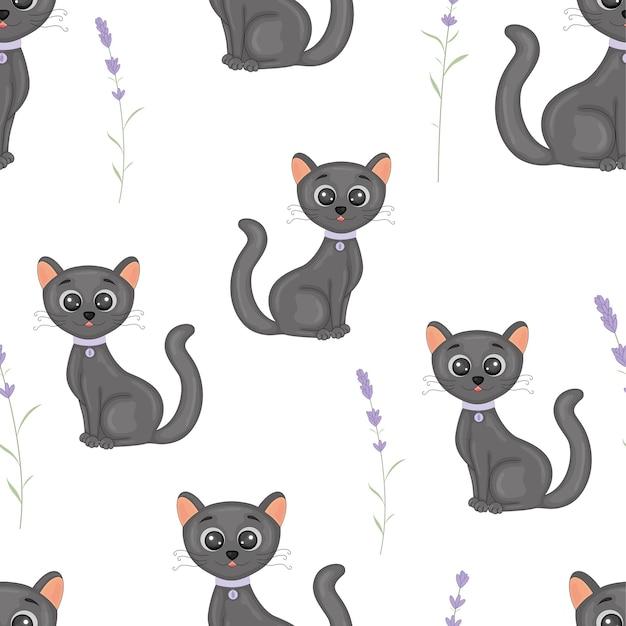 Gatos bonitos com o padrão sem emenda colorido de colarinho.