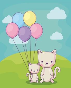 Gatos bonitos com os balões sobre o fundo da paisagem, projeto colorido. ilustração vetorial