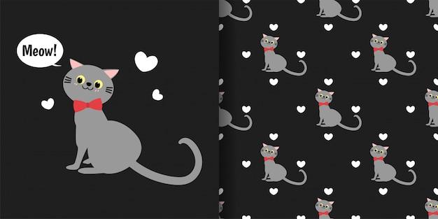 Gatos bonitos com padrão sem emenda de pequenos corações em fundo preto.