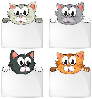 Gatos bonitos com papéis em branco