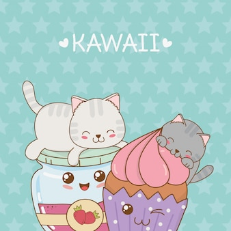 Gatos bonitos com personagens de geleia e cupcake kawaii