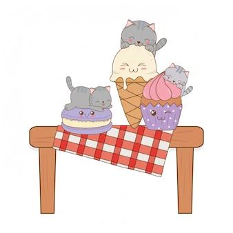 Gatos bonitos com sorvete e cupcake kawaii