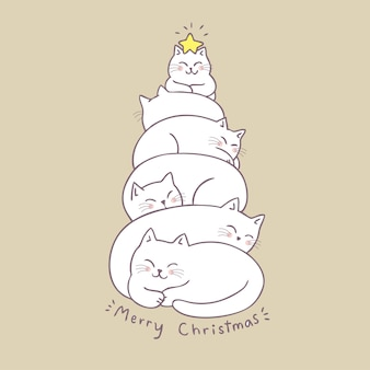 Gatos bonitos da árvore de natal dos desenhos animados que dormem o vetor.
