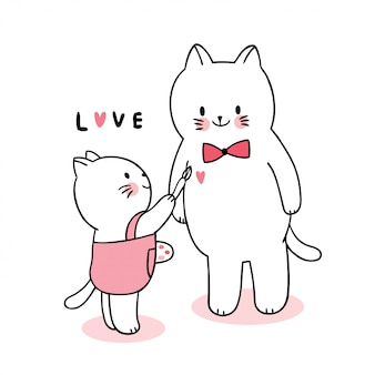 Gatos bonitos da família do dia dos namorados dos desenhos animados que pintam o vetor do coração.