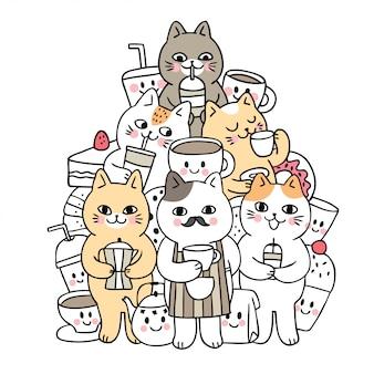 Gatos bonitos da garatuja dos desenhos animados e vetor da bebida.