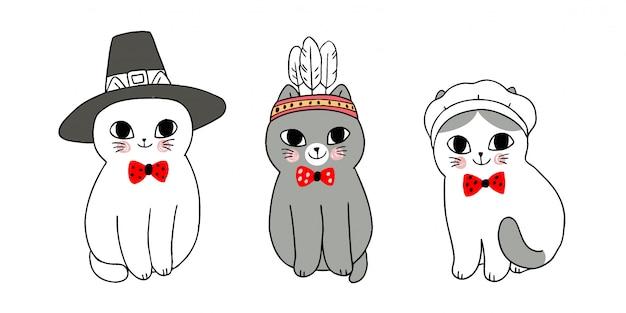 Gatos bonitos de ação de graças dos desenhos animados