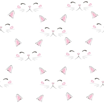 Gatos bonitos de estimação sem costura ícones, padrão e fundo