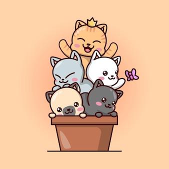 Gatos bonitos do bebê em uma ilustração de kawaii em vaso marrom.