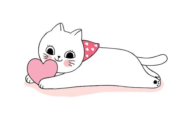 Gatos bonitos do dia dos namorados dos desenhos animados que jogam o vetor do coração.