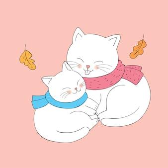 Gatos bonitos do outono dos desenhos animados que abraçam o vetor.