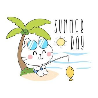 Gatos bonitos do verão que pescam a ilustração
