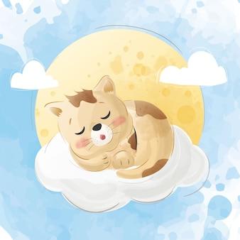 Gatos bonitos dormem em uma nuvem