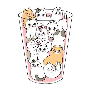 Gatos bonitos dos desenhos animados no vetor de vidro.