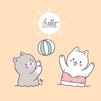 Gatos bonitos dos desenhos animados que jogam o vetor da bola.