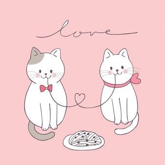 Gatos bonitos dos pares do dia de valentim dos desenhos animados que comem.