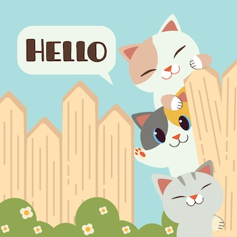 Gatos bonitos em cima do muro dizendo olá ilustração