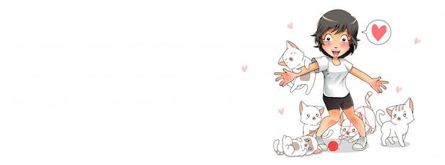 Gatos bonitos estão amando a ilustração