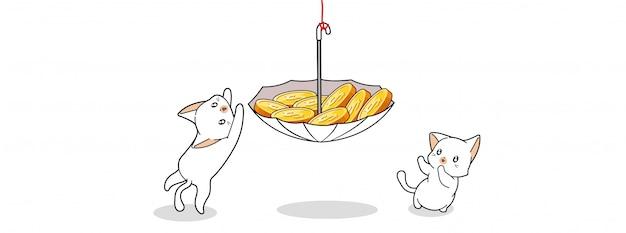 Gatos bonitos estão encontrando moedas ilustração
