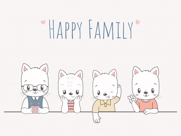 Gatos bonitos mão de família feliz dos desenhos animados desenhada