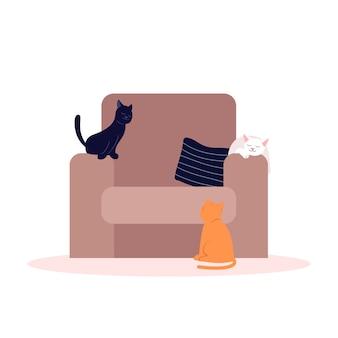Gatos bonitos na ilustração semi plana de poltrona macia
