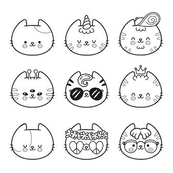 Gatos bonitos rostos para colorir coleção de conjuntos de páginas