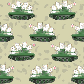 Gatos bonitos sem costura e padrão de tanques de guerra
