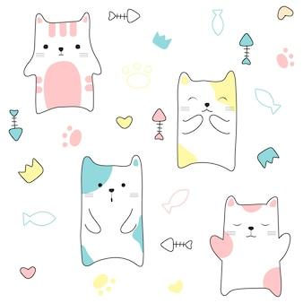 Gatos bonitos sem costura padrão mão desenhada estilo