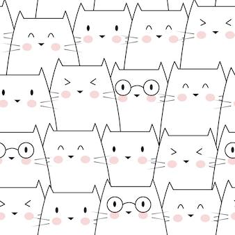 Gatos bonitos sem costura padrão