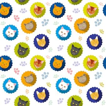 Gatos bonitos vector sem costura padrão