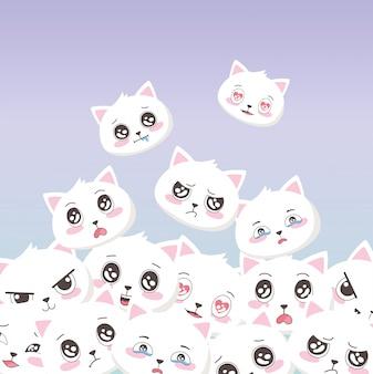 Gatos brancos bonitos enfrenta emoticons fundo de animais dos desenhos animados