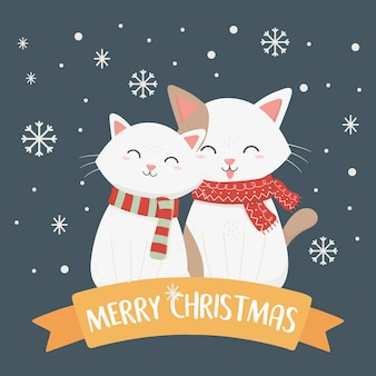 Gatos brancos com ilustração de cachecol e flocos de neve