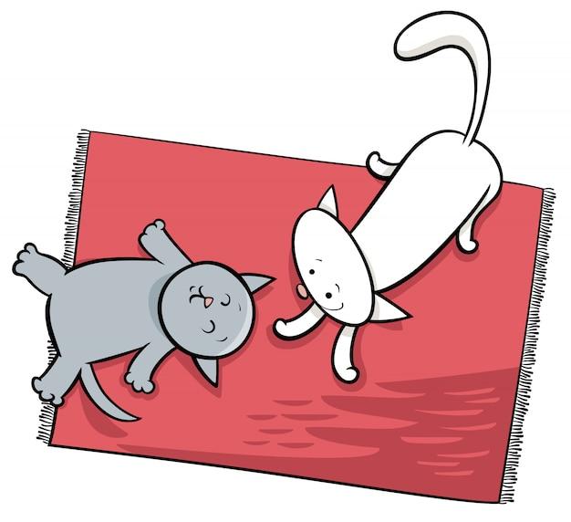 Gatos brincando bonito dos desenhos animados ilustração