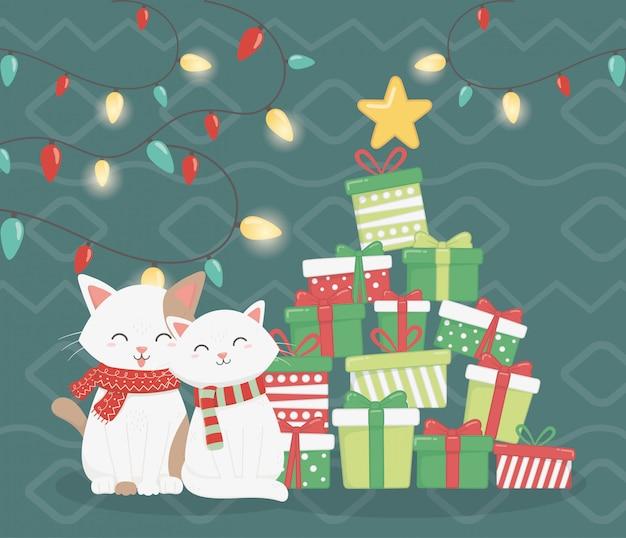 Gatos com cachecol e ilustração de presentes empilhados