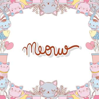 Gatos com folhas de galhos e fundo estrela