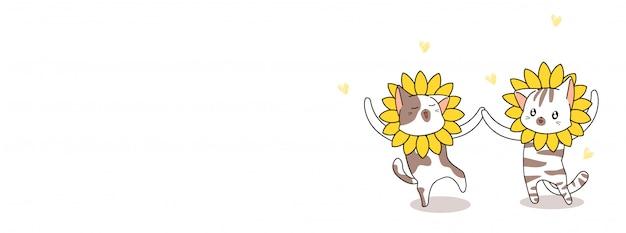 Gatos com ilustração de máscara de girassol