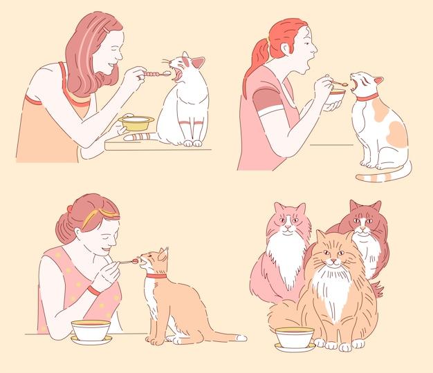 Gatos comem com uma colher