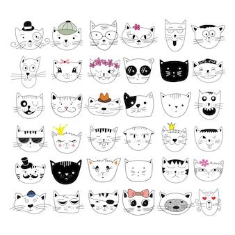 Gatos, conjunto de giro doodle.