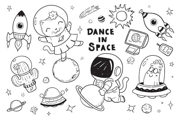 Gatos dançam no espaço doodle