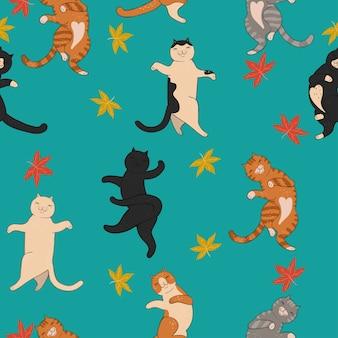 Gatos dançantes bonitos e folhagem de outono. padrão uniforme.