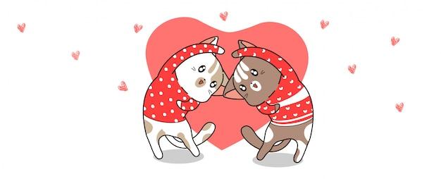 Gatos de banner kawaii estão agindo com coração para dia dos namorados