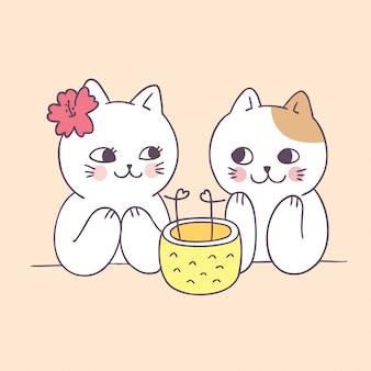 Gatos de casal verão bonito dos desenhos animados