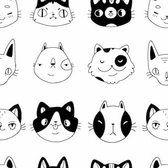 Gatos de desenhos animados de doodle preto e branco sem costura enfrentam um padrão uniforme em um fundo branco