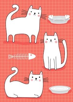 Gatos de estimação fofos brancos em fundo rosa