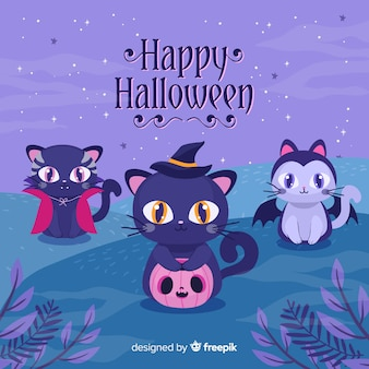 Gatos de halloween com design plano