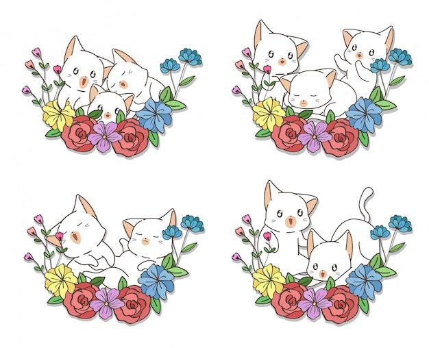 Gatos de kawaii mão desenhada com uma flores